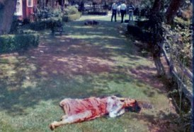 The body of Abigail Folger, photo courtesy of Crime Online