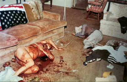 The bodies of Sharon Tate and Jay Sebring, photo courtesy of Crime Online